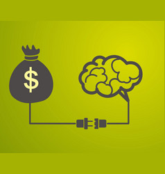 Brain is connected to a bag with money motivation vector