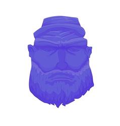 Cartoon brutal man face with beard vector