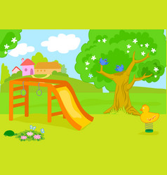 cartoon empty country playground vector image vector image