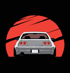 cartoon japan tuned car on red sun background vector image