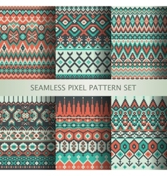 Collection of pixel colorful seamless patterns vector image vector image