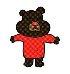 Comic cartoon unhappy black bear vector