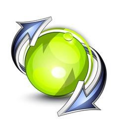 eco button with arrows vector image