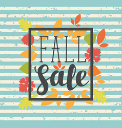 Fall sale design with colorful autumn leaves vector