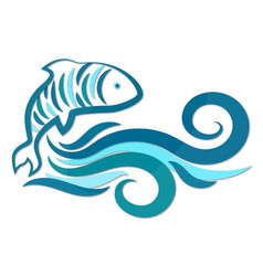 fish and water waves silhouette vector image vector image