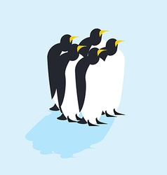 Group of penguins Arctic animals on ice Antarctic vector image