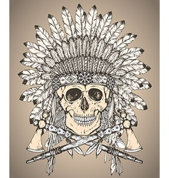 Hand drawn native american indian headdress with vector