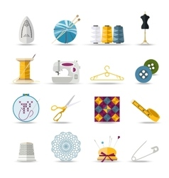 Handmade and sewing isolated icons set flat style vector