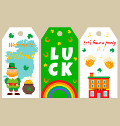 irish tags with traditional symbols and characters vector image