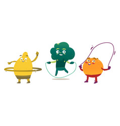 lemon orange and broccoli doing sport exercises vector image