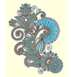 Line art ornate flower design vector