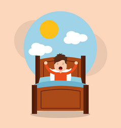 Little boy wake up in the morning cloud sun vector