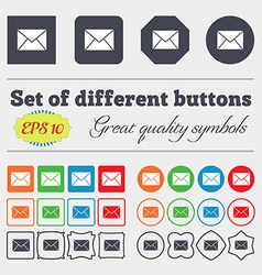 Mail envelope icon sign big set of colorful vector