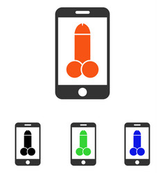 Mobile porno flat icon vector