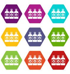 printer ink bottles icon set color hexahedron vector image