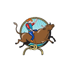 Rodeo cowboy bull riding lasso cartoon vector