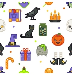 Seamless halloween pattern witch magic candies vector image vector image
