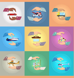set of pictures with hands protecting things vector image vector image