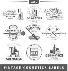 Set of vintage cosmetics labels logos vector