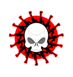 Skull and guns head of skeleton and rifles vector