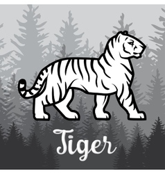 Double exposure white tiger in forest poster vector