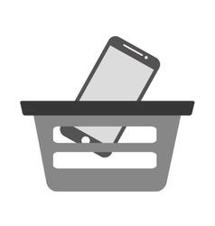 Basket buying online smartphone commerce gray vector