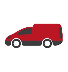 motor van icon isolated on white truck vehicle vector image