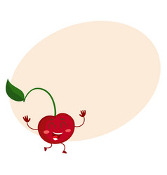 Cute and funny comic style cherry character vector