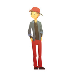 Guy in red pants and cap young person street vector