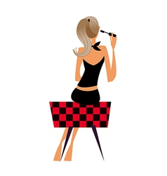 Rear view woman vector