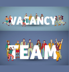 Group team business people and words vector