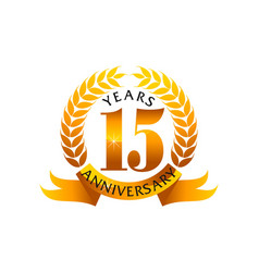 15 years ribbon anniversary vector image