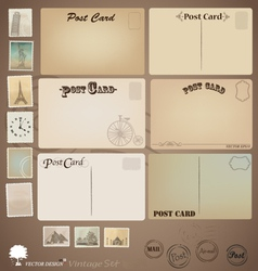 Set vintage postcard designs and stamps vector