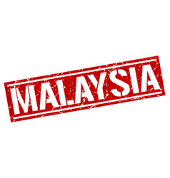 Malaysia red square stamp vector