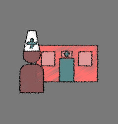 Flat shading style icon doctor and hospital vector