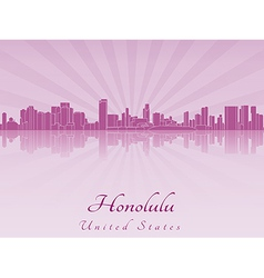 Honolulu skyline in purple radiant orchid vector