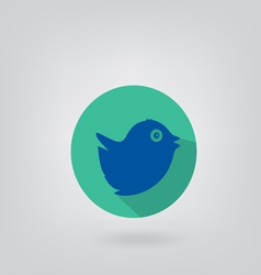 Trendy round blue twitter bird social media web vector