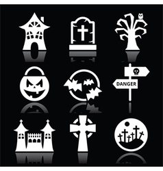 Halloween white icons set on black vector