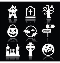Halloween white icons set on black vector image