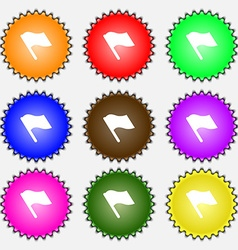 Finish start flag icon sign a set of nine vector