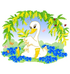 cute duck with flowers vector image
