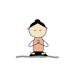 Woman practicing yoga lotus pose vector
