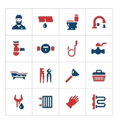 Set color icons of plumbing vector