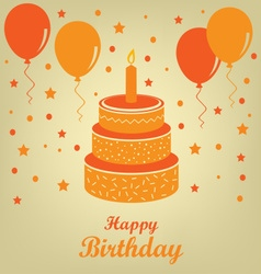 Birthday poster with cake and balloons vector