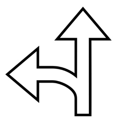 Split direction left forward thin line icon vector