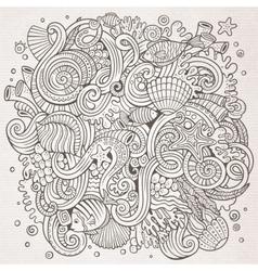 Cartoon hand-drawn doodles underwater life vector