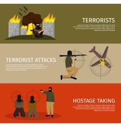 Three terrorism flat banner set vector