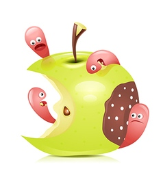 Worm eaten rotten apple 3d vector