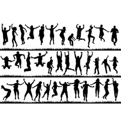Young people and children jumping vector