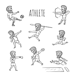 Athlete hand drawn set vector